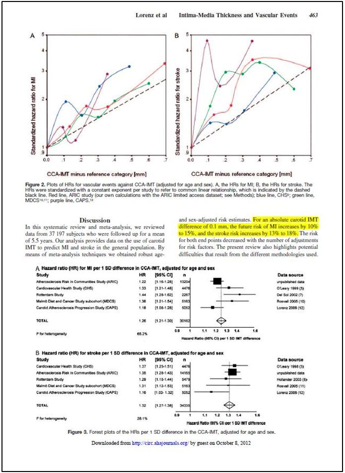 Khi mức chênh lệch tuyệt đối của độ dày nội trung mạc động mạch cảnh là 0.1mm, nguy cơ đột quỵ tăng từ 13% đến 18%.
